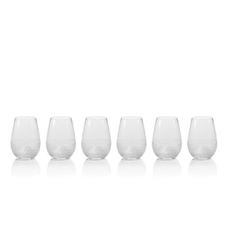 Vitorrio Frosted Stemless Wine Glasses, Set of 6
