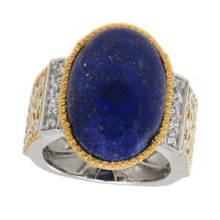 Michael Valitutti Palladium Silver Oval Lapis Lazuli & White Zircon Ring - Size 7