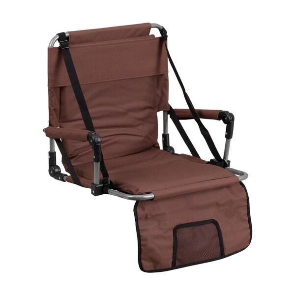 Offex Brown Canvas Folding Stadium Chair