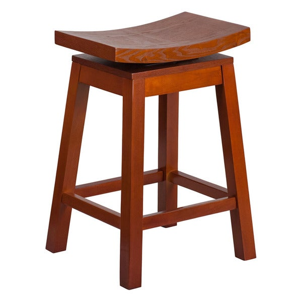 Shop Offex Light Cherry Wood 26 Inch High Saddle Seat Counter Height