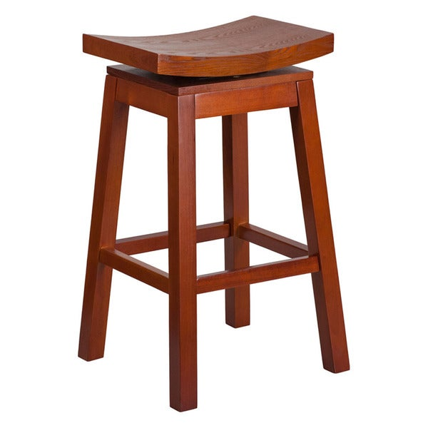 Offex Saddle Seat Light Cherry Wood 30 Inch High Barstool With Auto Swivel Return