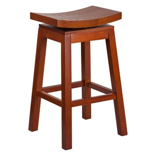 Offex Saddle Seat Light Cherry Wood 30-inch High Barstool with Auto Swivel Seat Return