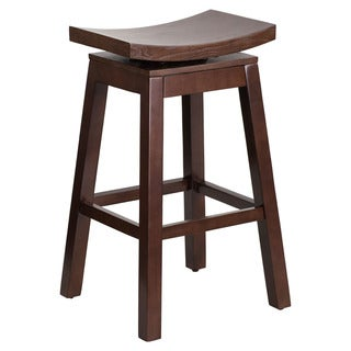 Offex Cappuccino Finish Wood 30-inch Saddle Seat Swivel Barstool