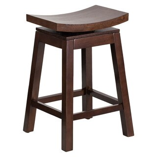Offex Cappuccino Wood 26-inch High Saddle Seat Counter-height Stool with Auto Swivel Seat Return