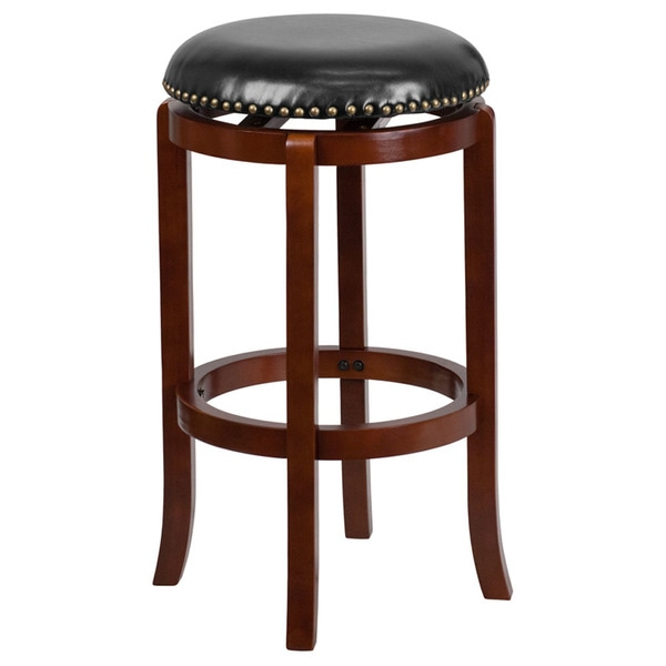 Offex Light Cherry Wood 29 Inch Backless Barstool With Black Leather Swivel Seat