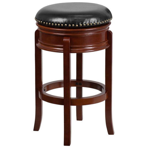 Offex Light Cherry Wood 29-inch Backless Barstool with Black Leather Swivel Seat