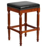 Offex Light Cherry Wood 30-inch High Backless Barstool with Black Leather Seat