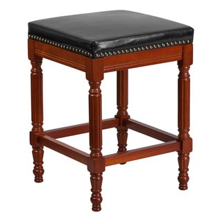 Offex Light Cherry Wood 26-inch High Backless Counter-height Stool with Black Leather Seat