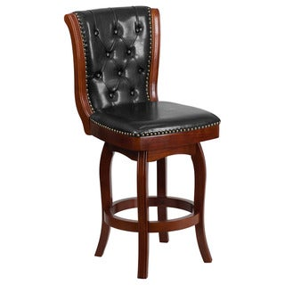 Offex Cherry Wood 26-inch High Counter-height Stool with Black Leather Swivel Seat