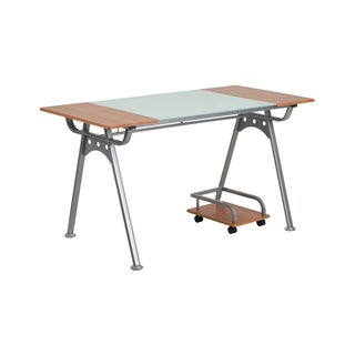 Offex Brown Wood and Metal Computer Desk
