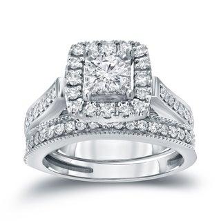 Auriya 14k 1ct TDW Halo Diamond Wedding Ring Sets (H-I, I1-I2)