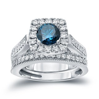 Auriya 14k 1ct TDW Halo Blue Diamond Wedding Ring Sets (H-I, I1-I2)