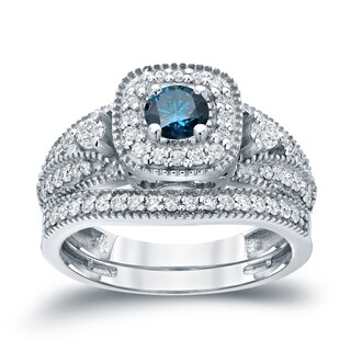Auriya 14k 3/4ct TDW Halo Blue Diamond Wedding Ring Sets (H-I, I1-I2)