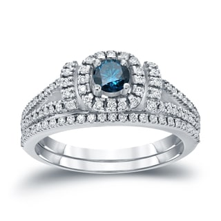 Auriya 14k 3/4ct TDW Halo Blue Diamond Wedding Ring Sets (H-I, I1-I2)