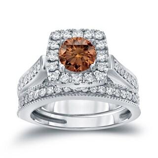 Auriya 14k 1ct TDW Halo Brown Diamond Wedding Ring Sets (H-I, I1-I2)