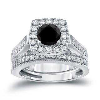 Auriya 14k 1ct TDW Halo Black Diamond Wedding Ring Sets (H-I, I1-I2)