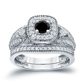 Auriya 14k 3/4ct TDW Halo Black Diamond Wedding Ring Sets (H-I, I1-I2)
