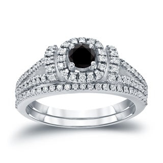 Auriya 14k 3/4ct TDW Halo Black Diamond Wedding Ring Sets (H-I, I1-I2)