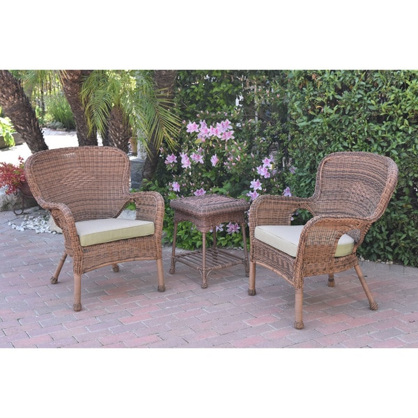 Shop Jeco Windsor Honey Wicker Chair And End Table Set With Cushions