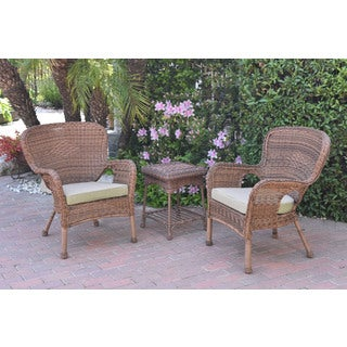 Jeco Windsor Honey Wicker Chair and End Table Set With Cushions