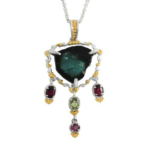 Michael Valitutti Palladium Silver Indicolite & Multi Color Tourmaline Pendant