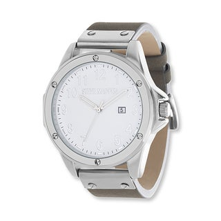 Steve Madden White Dial Grey Leather Band Watch