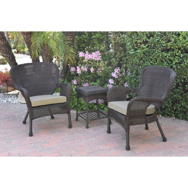 Shop Jeco Windsor Espresso Wicker Chair And End Table Set