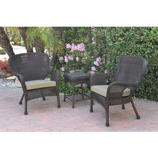 Jeco Windsor Espresso Wicker Chair And End Table Set With Cushions