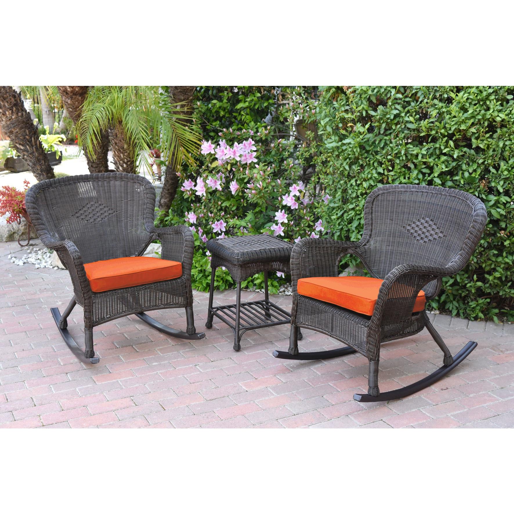 Jeco Windsor Espresso Wicker Rocker Wicker Chair And End Table Set