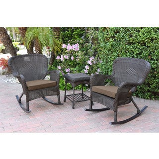 Jeco Windsor Espresso Wicker Rocker Wicker Chair and End Table Set