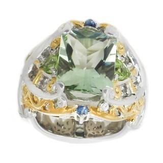 Michael Valitutti Palladium Silver Radiant Cut Green Amethyst, Peridot & Sapphire Ring - Size 6
