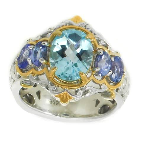 Michael Valitutti Palladium Silver Oval Swiss Blue Topaz & Tanzanite Scrollwork Ring - Size 8