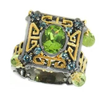 Michael Valitutti Palladium Silver Asia Peridot & Swiss Blue Topaz Charm Ring - Size 7