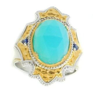 Michael Valitutti Palladium Silver Sea Blue Onyx & Blue Sapphire Ring - Size 7