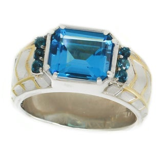 Michael Valitutti Palladium Silver Emerald Cut Super Swiss & London Blue Topaz Men's Ring - Size 10