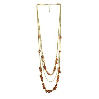 Brown & Goldtone Shell Triple-Strand Necklace