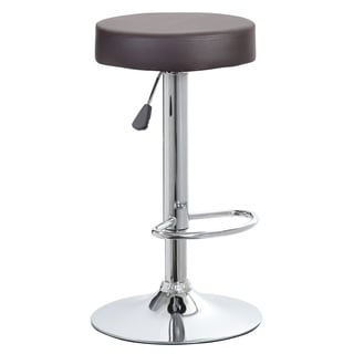 Black Faux-leather Backless Round Adjustable-height Barstool with Chrome Base
