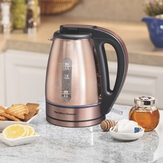 Hamilton Beach 1.7L Copper Finish Glass Kettle