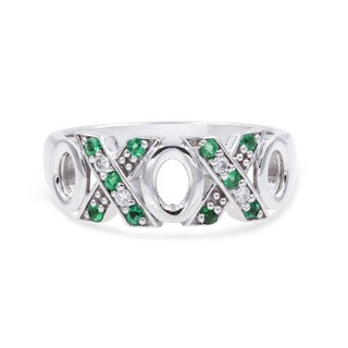 0.15 Carat Round Diamond & Emerald X O Women Wedding Band In 14K White Gold