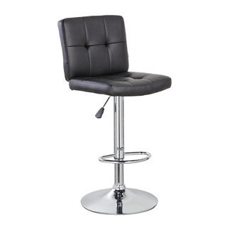 Chrome-finished Black Padded Mid-back Classic Adjustable-height Armless Barstool