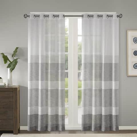 Madison Park Jasper Woven Faux Linen Striped Window Sheer