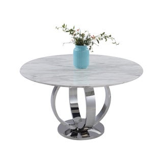 Christopher Knight Home Noelle White Marble and Stainless Steel Dining Table