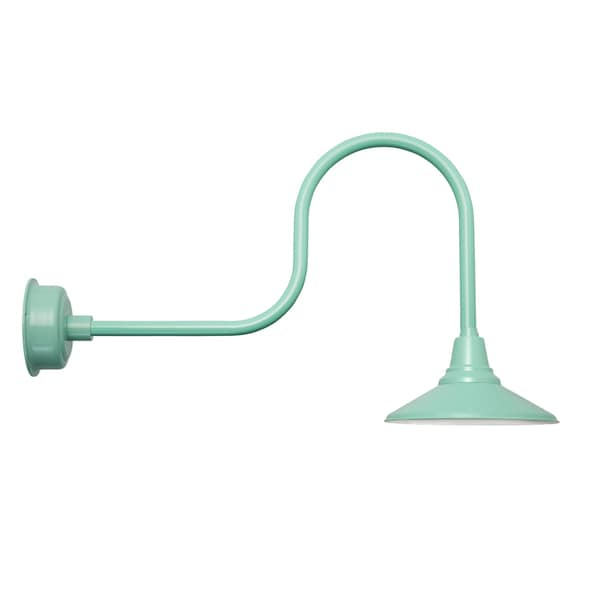 "18"" Calla LED Barn Light with Industrial Arm in Vintage Green"