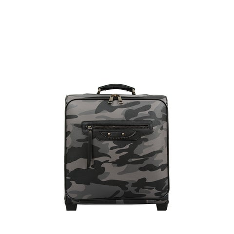 Mellow World Brandy Camouflage Synthetic-leather Carry-on Rolling Laptop Suitcase