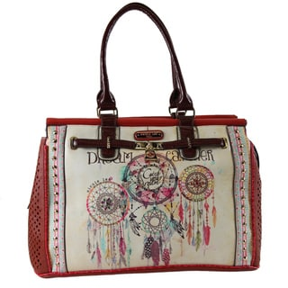 Nicole Lee Dorthy Dreamcatcher Red/Beige Nylon/Faux Leather Overnighter Tote Bag