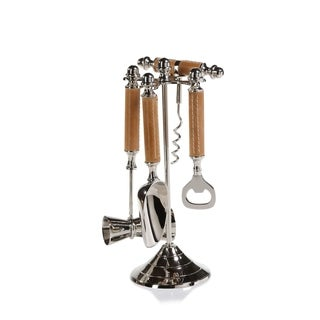 Polished Nickel and Leather Bar Tool Set