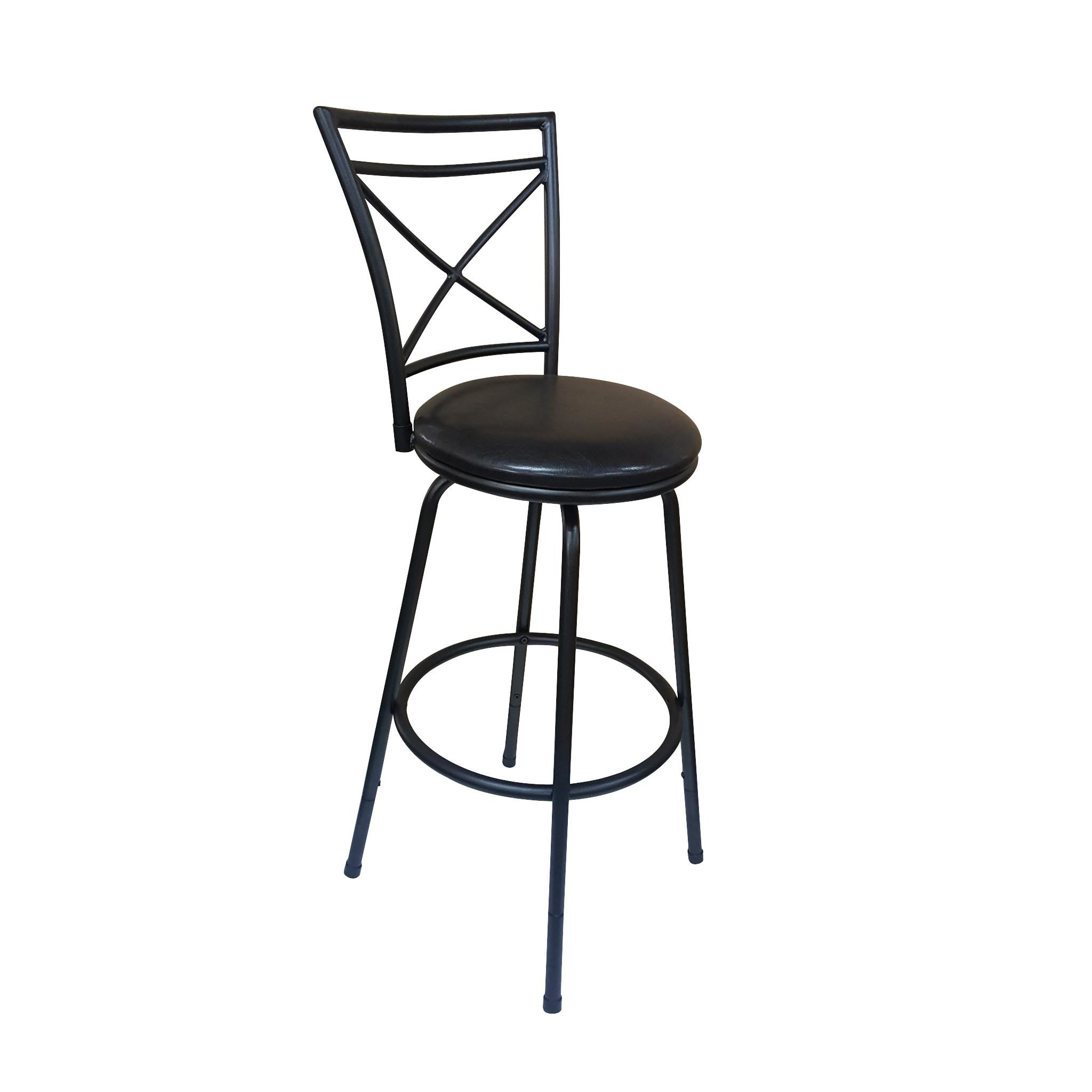 Porch & Den Botanical Heights Lafayette Black Metal and Faux Leather Adjustable Bar Stool - Thumbnail 0