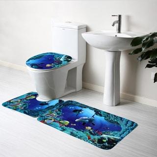 3PCS Dolphin Carpet Toilet Mat Ocean Underwater World Design Antislip and Sturdy for Bathroom