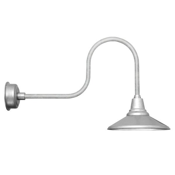 """12"""" Calla LED Barn Light with Industrial Arm in Galvanized Silver"""