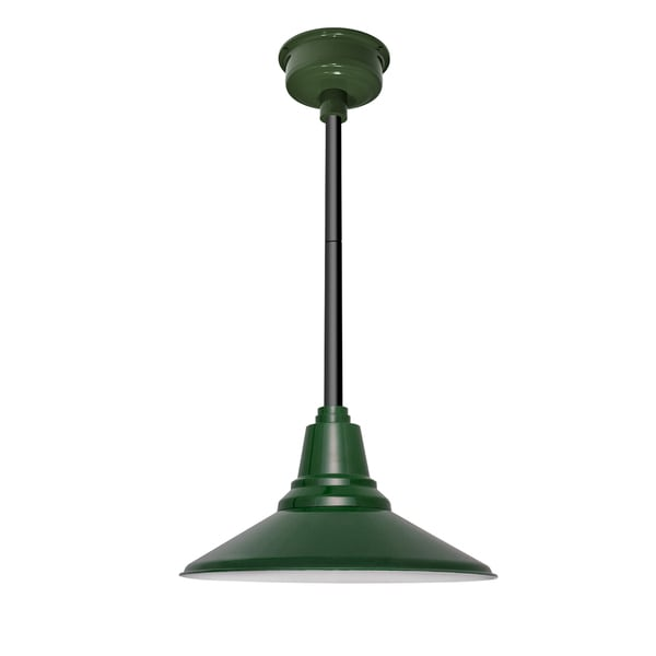 Calla Vintage Green/Black Metal LED Pendant Light with Downrod